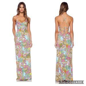 Trina Turk coral reef maxi dress